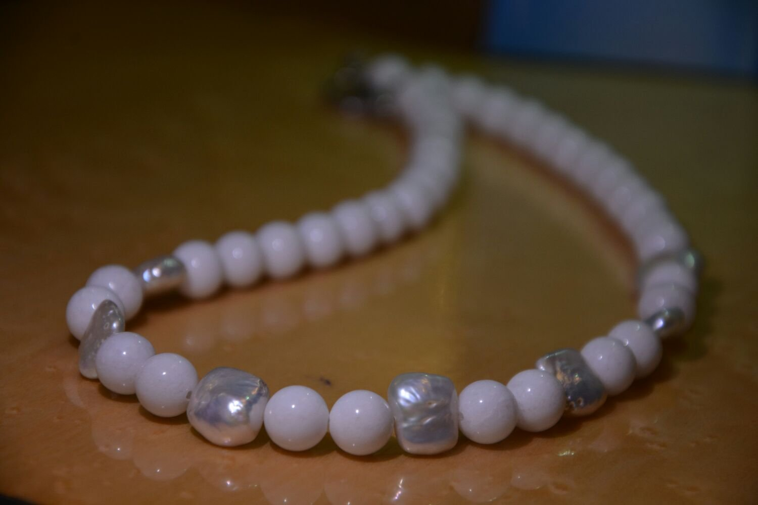 White Jade with Freshwater Pearl Necklace