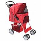 Pet Stroller Cat Dog 4 Wheeler Easy Walk Stroller Travel Folding Carrier Red