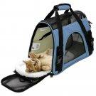 Pet Carrier Soft Sided Cat / Dog Comfort Travel Tote Bag Airline Approved Blue