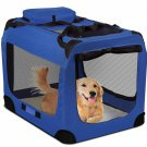 Dog Crate Soft Sided Pet Carrier Foldable Training Kennel Cage House Blue