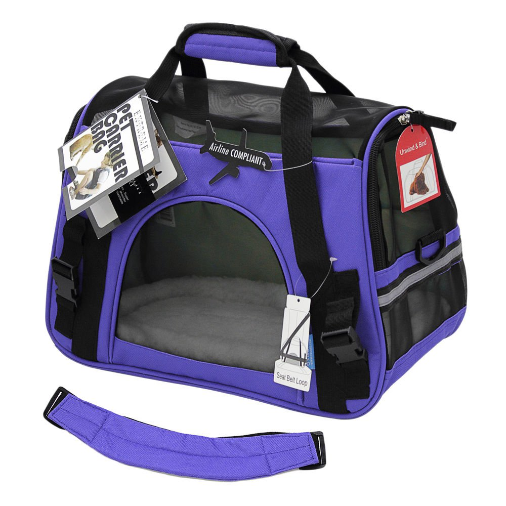 Pet Carrier Soft Sided Small Cat Dog Comfort Lavender
