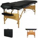 "2"" Pad 84"" Black Portable Massage Table w/Free Carry Case Chair Bed Spa Facial"