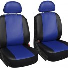 Faux Leather Blue Black Seat Cover 6pc for Dodge Charger w/Head Rests
