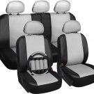 Faux Leather Black White Seat Cover for Toyota Camry w/Steering Wheel/Belt Pads