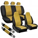 8pc Full Integrated Set Yellow & Black PU Faux Leather Complete VAN Seat Covers