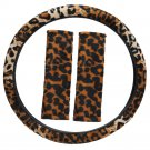 Leopard Print Tan Steering Wheel Cover Universal Fit for Car Truck Van SUV