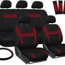 Car Seat Covers for Ford Focus Red Black with Steering Wheel/Belt Pad/Head Rests