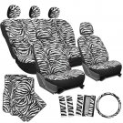 21pc Black White Zebra Print Seat Covers Full Set Floor Mats Steering Wheel