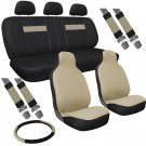 Full Sports Car Seat Cover Solid Tan Integrated Bucket Solid Tan Black High Back
