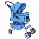 New 4 Wheels Pet Stroller Cat Dog Cage Stroller Travel Folding Carrier Blue
