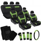 26pc Complete Green Black SUV Auto Seat Cover Set Wheel Belt Pads Floor Mats