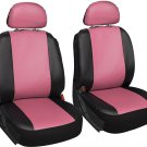 Faux Leather Pink Black Seat 6pc Bucket for Ford F150 w/Detachable Head Rests