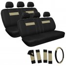 Tan and Black with Seat Belt 2 Two Bench Row Car Seat Covers Package