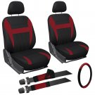 9 Piece Red and Black Front Car Seat Cover Set Bucket Chairs with Wheel Cover