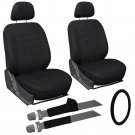 9 Piece Solid Black Front Car Seat Cover Set Bucket Chairs with Wheel Cover