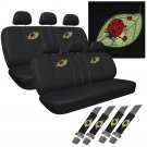 DOUBLE 8pc Set Beetle Lady Bug CAR Seat Cover Front Benches Back Buckets 2x DD10