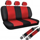 SUV Van Truck Seat Cover Red Black 8pc Set Bench w/Belt Pads Synthetic Leather