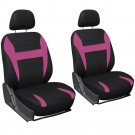 6PC Mesh Front Car Seat Headrest Cover Set Bucket Chair Striped Pink & Black