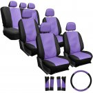23pc Set Faux Leather Purple Black VAN Seat Covers Low Back Extra 2 Chairs 4A