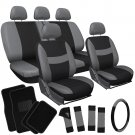 21pc Gray Black Seat Cover For Truck w/Steering Wheel/Low Back Buckets/Floor Mat