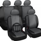 Faux Leather Seat Covers for Toyota Rav4 Gray Steering Wheel/Belt Pads/Head Rest
