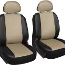 Faux Leather Black Tan Seat Cover 6pc for Toyota Camry w/Head Rests