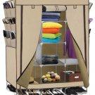 "Portable Closet Storage Organizer Clothes Wardrobe Shoe Rack Shelves, Beige 69"""