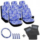 20pc Blue Hawaii Floral Black SUV Seat Cover Wheel + Pads + gray Floor Mat 3A