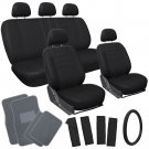 21pc Set All Black TRUCK Seat Cover Steering Wheel + Head Rests Gray Floor Mats