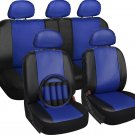 Faux Leather Seat Cover for Hyundai Sonata Blue w/Steering Wheel/Belt/Head Rests
