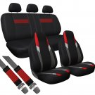 10pc Set Red Gray Black Integrated + Split Bench TRUCK High Back Seat Covers