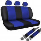 Car Seat Covers For Auto Honda Civic Bench Blue Black w/Belt Pads Faux Leather
