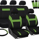 Car Seat Covers for Kia Soul Green & Black w/Steering Wheel/Belt Pads/Head Rests