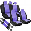 8pc Full Integrated Set Purple Black PU Faux Leather Complete VAN Seat Covers 4E