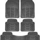 5pc Set All Weather Heavy Duty Rubber Gray For Auto Car Floor Mats Liner