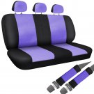 Car Seat Covers For Auto Honda Civic Bench Purple Black w/Belt Pads Faux Leather