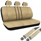 SUV Van Truck Seat Cover Tan 8pc Set Bench w/Belt Pads Synthetic Leather