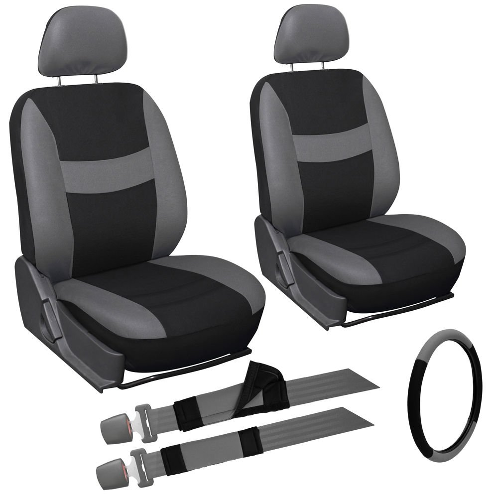 9pc Gray and Black Front Car Seat Cover Set Bucket Chair w/ Steering Wheel Cover