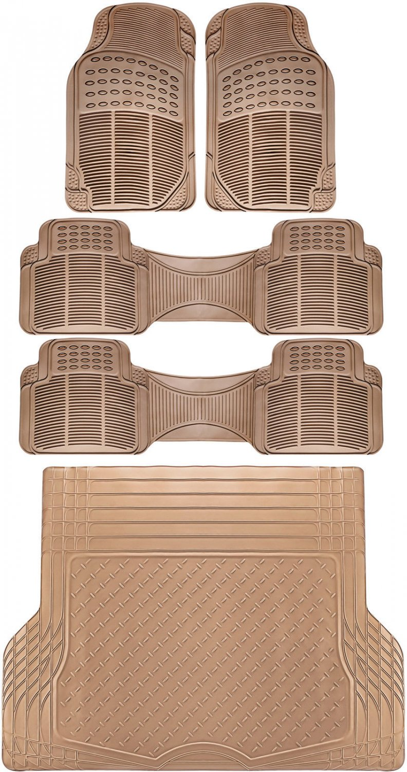 5pc All Weather Heavy Duty Rubber SUV Floor Mat Beige 3 Row & Trunk Liner 3A