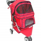 New Classic Fashion Red 3 Wheels Pet Dog Cat Stroller with RainCover