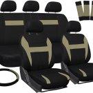 Seat Covers for Auto Set of Cloth Bucket/Bench/Steering Wheel/Belt Beige Black