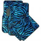 Auto Floor Mats for SUVs Trucks Vans 4pc Blue Safari Zebra Tiger Print Carpet