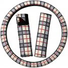 Steering Wheel Cover for Car Truck Van SUV Yellow Plaid Soft Cloth w/Belt Pads