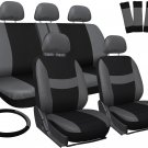 Car Seat Covers for Ford Focus Gray Black w/ Steering Wheel-Belt Pads-Head Rests