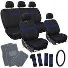 20pc Set Blue Black TRUCK Seat Cover Wheel + Pads + Pads + gray Floor Mat 2A