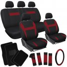 21pc Set Red Black Auto Car Seat Cover + Wheel Cover + Head Rests + Floor Mats