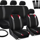 Seat Covers for Jeep Wrangler Red Gray Black w/Steering Wheel/Belt Pad/Head Rest