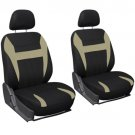 Car Seat Cover Tan Black 6pc Set Bucket for Auto w/Detachable Head Rest Mesh