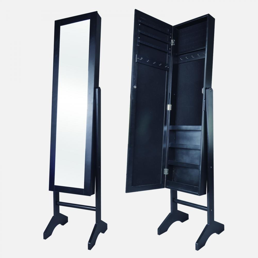 New black mirrored jewelry cabinet armoire stand mirror for Mirror jewellery cabinet