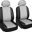 Faux Leather SUV Van Truck Seat Cover White Black 6pc w/Detachable Head Rests